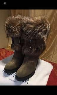 Moncler suede boot with dyed fox fur (Finland) cuff   - Size: 38 IT