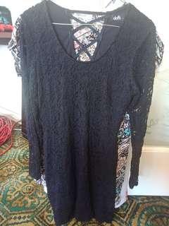 Dotti Navy Blue Long Sleeve Lace Lined Dress