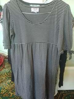 ICE size medium long sleeved striped grey black dress