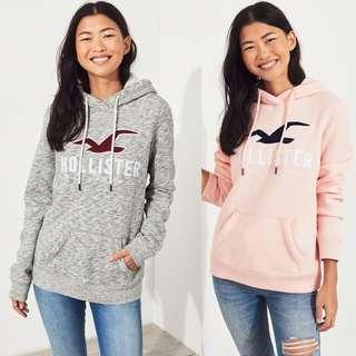 HOLLISTER ORIGINAL GREY AND PINK LOGO HOODIE