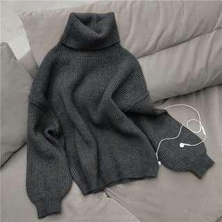 🚚 灰色 高領針織上衣