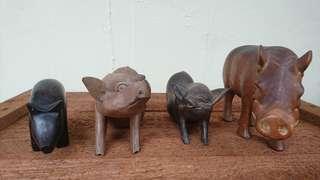 Wooden Pig Figurines