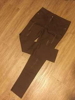 Brown Ripped Jeans
