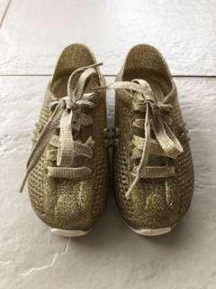 Preloved Mini Melissa gold glitter sneakers for toddler girls