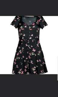 Black sparrow dress tie back button down