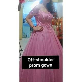 Off-shoulder prom gown for rent