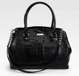 Kate Spade Black Croc Skin Leather Two Way Bag