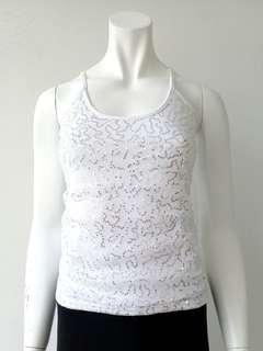 White Tank Top with Silver Sequins #CNY888