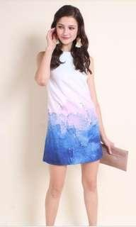 Abstract shift dress in lilac