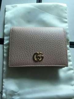 Pink Gucci wallet with receipt and box