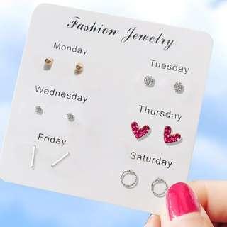 (缺貨中)╭✿蕾兒0509✿╮DB044-韓國小巧耳飾大集合套裝組合耳環耳釘耳針飾品首飾流蘇耳環