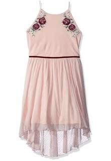 Amy Byer Big Girls' High-Low Dress with Flower/Rose Applique