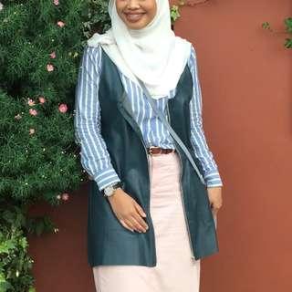 Zara Green Leather Sleeveless Cardigan