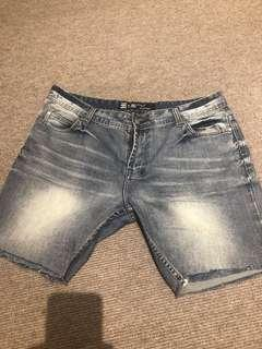 Faded wash jeans shorts