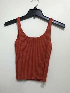 橘色線衫背心 size:S