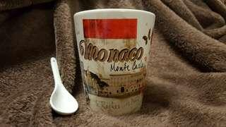 Souvenir cup with spoon from Monaco