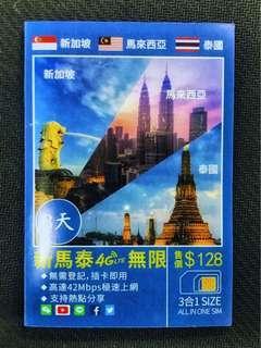 新加坡 馬來西亞 泰國 4G LTE 42Mbps 8天 無限上網 3GB FUP