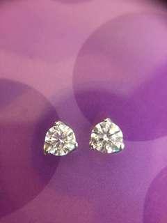 💓💚✨ 鉑金 天然鑽石耳環 耳釘✨💚💓