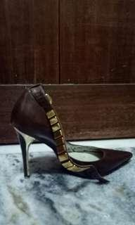 GUESS by Marciano Leather high heels with gold embellishments