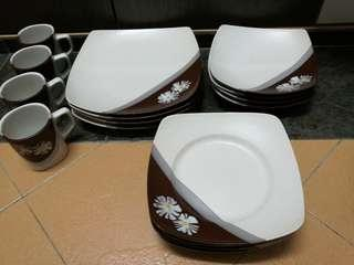 16pcs Ceramic Plates & Cups