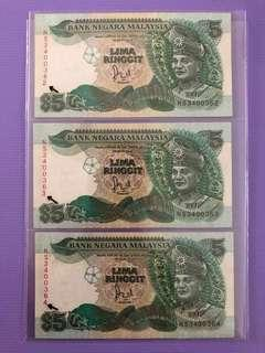 Malaysia 6 series RM5 3 pc running no (error last no.not in line)