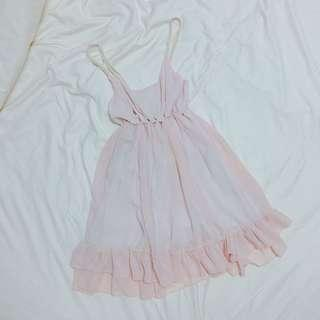 Soft Pink Chiffon Midi Dress