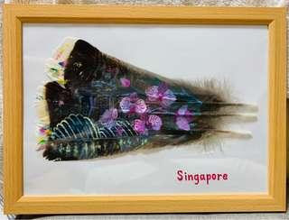 🚚 Hand painted Singapore landscape on feathers.