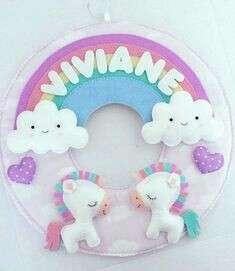 Hiasan dinding anak- unicorn twins