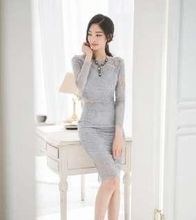 [Selling as a Set] Grey Lace Top and Skirt Coord