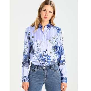 NWT BANANA REPUBLIC Women's Dillon Lisa Collar Shirt Floral Stripe Blue Print XL