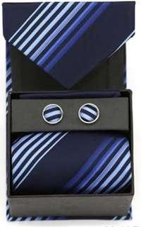 Ferrecci Striped Neck Tie, Cufflinks and Hanky Boxed Set