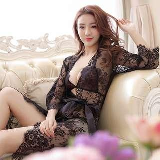 [READY STOCK] Pink Chantilly Lace Bikini Long Robe Set Sexy Sleepwear