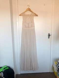 FOREVER NEW | Lace Embellished Maxi Dress in Nude | Size 6 | Worn Once