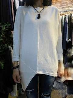 韓國製斜腳白色上衣