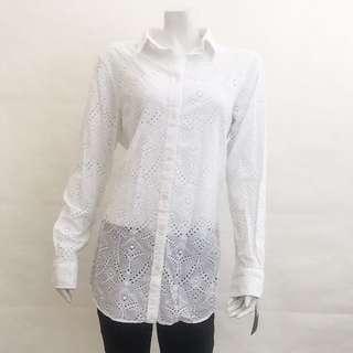 RRP $160! NWT LAUREN RALPH LAUREN White Eyelet Lace Long Sleeve Shirt L Large