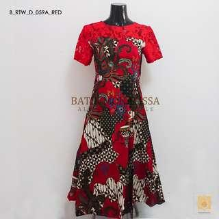 🚚 Batik Lace Skater dress in Red