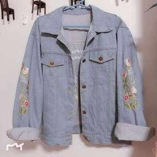 [BN] [INSTOCK] Light Blue Floral Embroidery Jacket