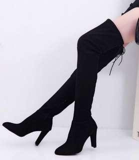 🔥[INSTOCK] Korean Ulzzang Black Suede Leather Over The Knee Length High Slimming Effect 9cm Heel Boots