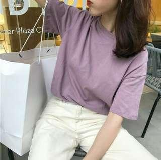 [wts/instock] ulzzang plain purple shirt