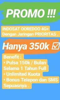 Indosat Oredoo 4G+ Bayar 350rb dapat Pulsa 1.8Juta