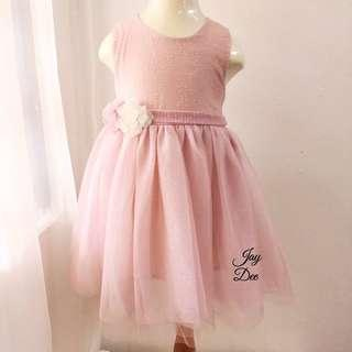❤️Baby Tutu Dress with Flower Pin (Dusty Pink)❤️
