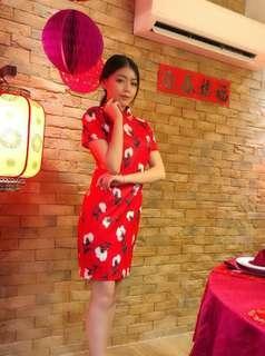 Red Qipao/ Cheongsam short sleeve #cnycs