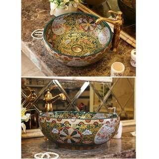 Antique wash basin forl toilet vanity- prints on ceramic