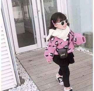 🚚 女童女寶寶 洋氣粉嫩豹紋加厚保暖毛衣 姐妹裝 寶貝新年拜年服 尺碼110&80 現貨可快速寄出