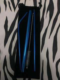 Stainless Steel Straw Blue Set (Promo!!!!)