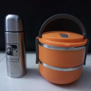 Tiffin Carrier and Flask ComboSet (Preloved)