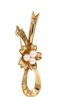 Classic Mikimoto 14K Yellow Gold Floral Pearl Pin