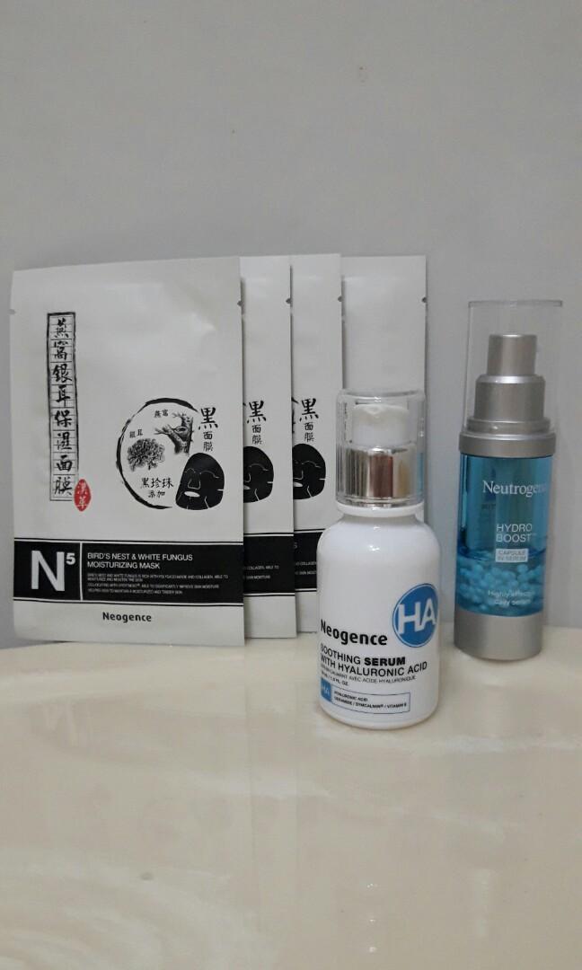 保濕組 (Neogence玻尿酸舒緩修護精華×1露得清水活保濕膠囊特潤精華×1面膜×4 )