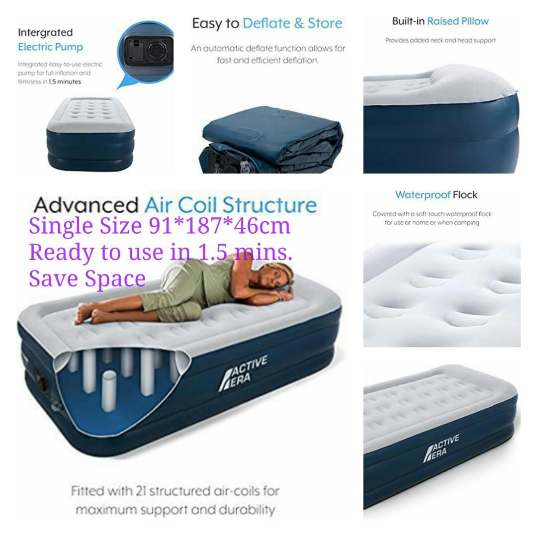 Inflatable Mattresses Airbeds Active Era Luxury Single Size Air Bed With Built In Electric Pump And Pillow Home Furniture Diy 5050 Pk