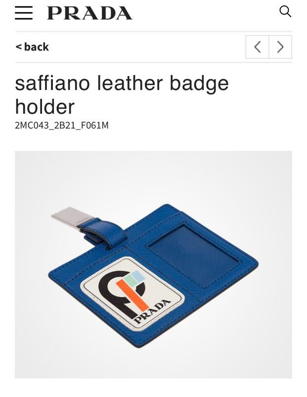 981bea075496 Authentic PRADA saffiano leather badge holder, Luxury, Accessories ...